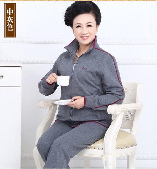 冬季加绒加厚女运动套装中老年运动服开衫大码宽松休闲妈妈装保暖