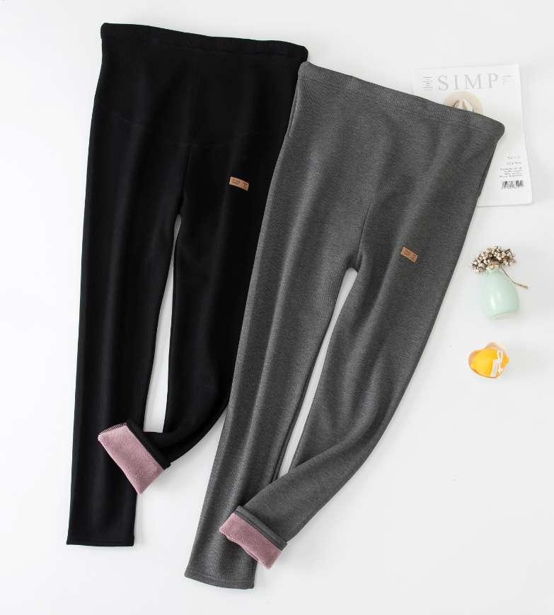 2020新款全棉加绒孕妇托腹裤摇粒绒