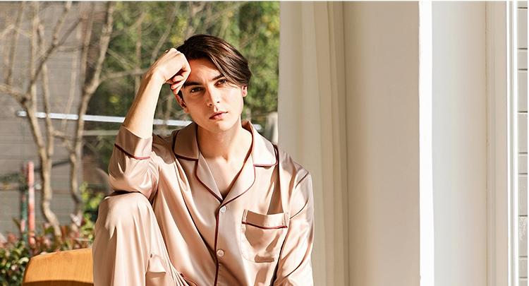 男士丝绸长袖套装  秋款法式纯色冰丝简约家居服套装