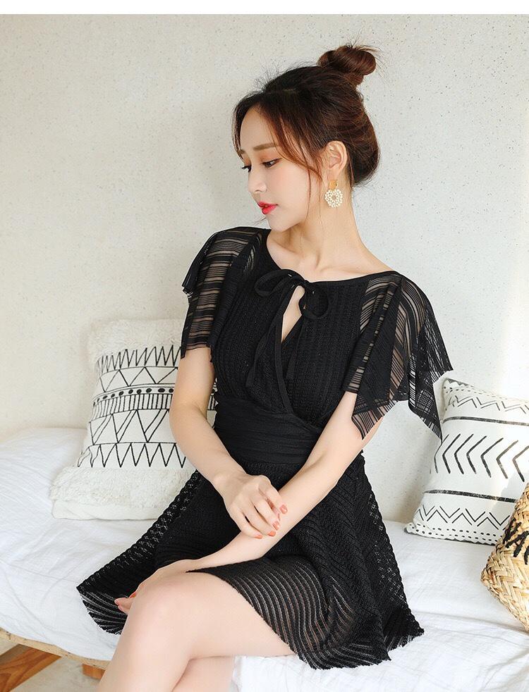 新款连体泳衣女士韩版网红仙女范小胸聚拢显瘦遮肚裙式平角游泳装