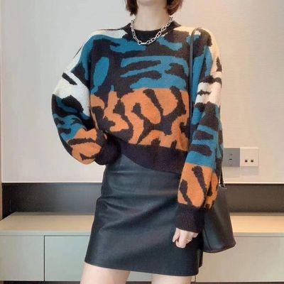 韩版时尚撞色针织上衣女装