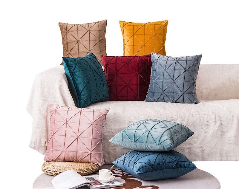 亚马逊天鹅绒素色米字格抱枕靠垫 简约INS风荷兰绒靠垫