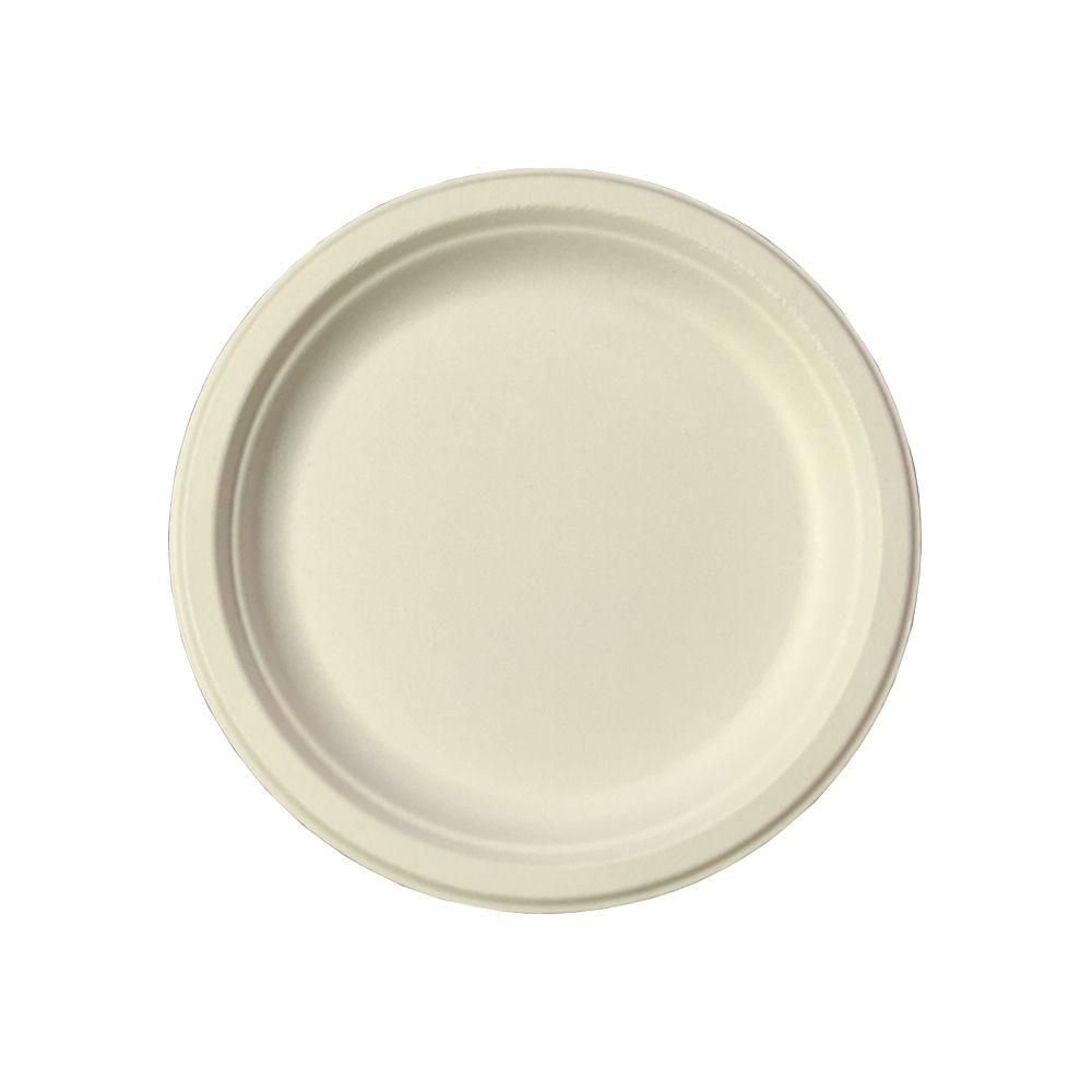 7寸甘蔗浆餐具圆形餐盘一次性餐盘餐具可降解一次性餐具圆形餐盘