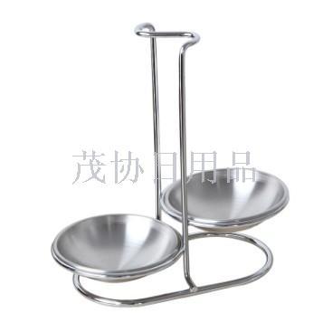 不锈钢汤勺架 火锅汤壳汤漏座架勺托餐具置物架子双圆碗碟座厨房