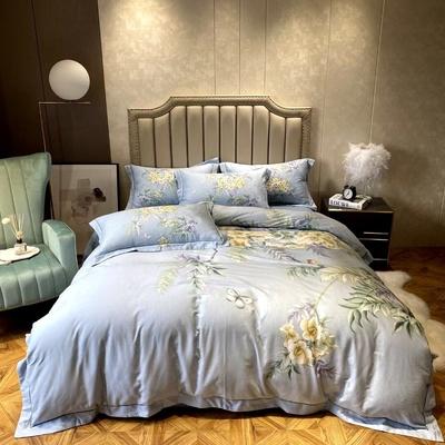 秋冬加厚全棉磨毛丽维茸四件套1.8米床双人婚庆花卉 纯棉被套床单(随机发)