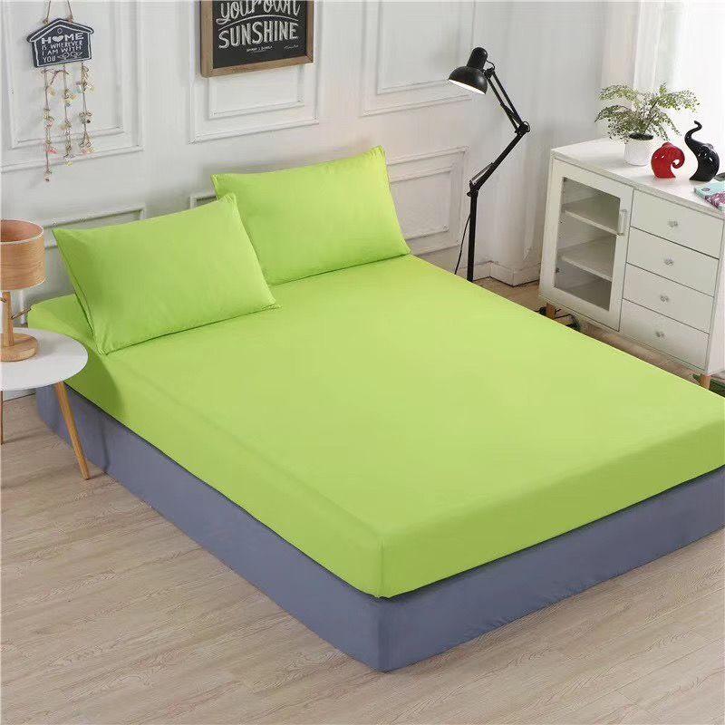 床上用品外贸素色化纤床笠 绿色