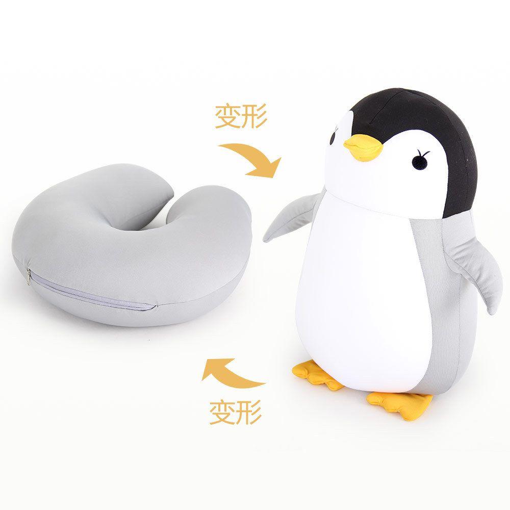 厂家直销企鹅u型枕头卡通粒子枕多功能两用枕护颈枕毛绒玩具 抓娃娃机公仔