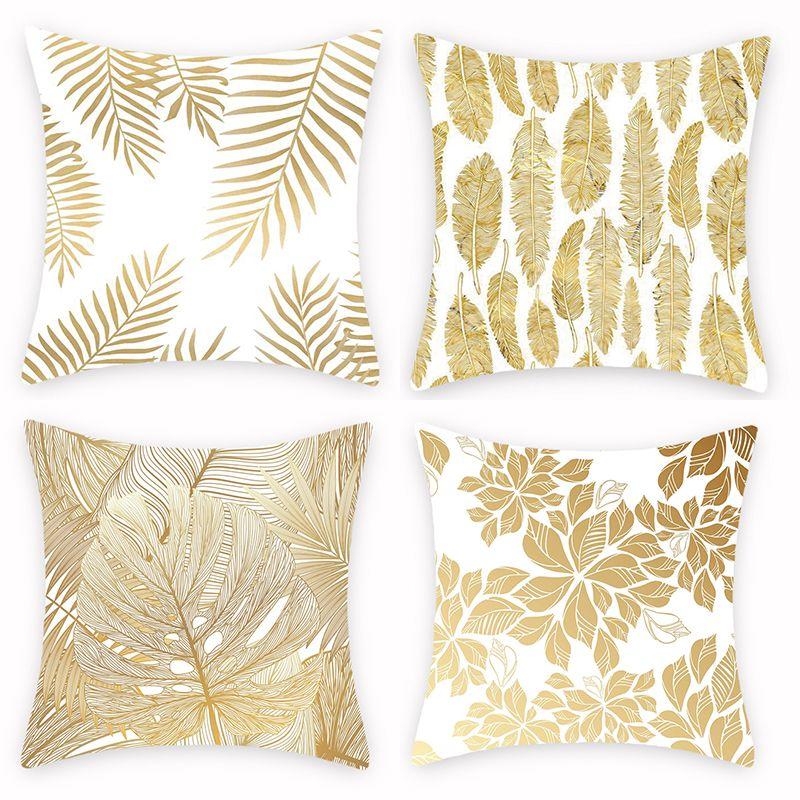 新款烫金几何叶子抱枕套 简约创意抱枕套 办公室沙发靠垫来图定制
