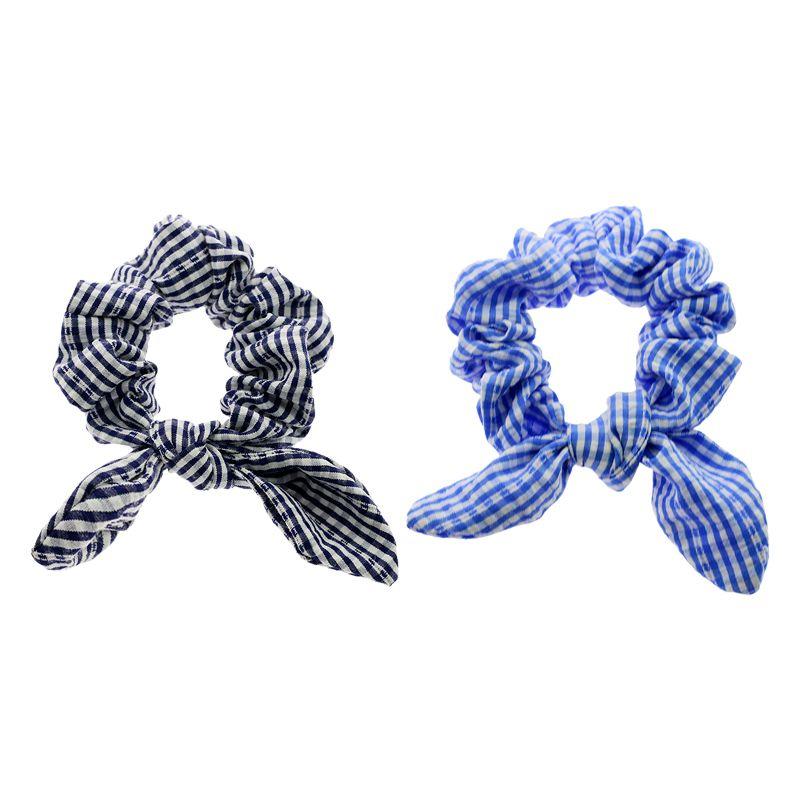 新款跨境ins兔耳朵打结发圈条纹纯色大肠圈蝴蝶结女百搭头绳发饰