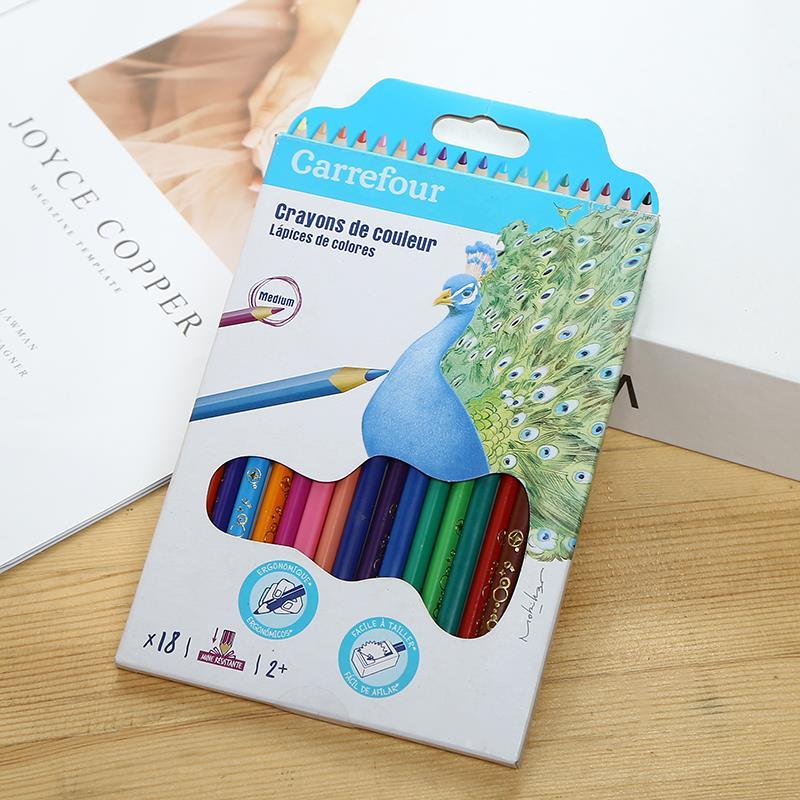 小学生儿童彩铅铅笔孔雀18色涂鸦画画填色铅笔不易断