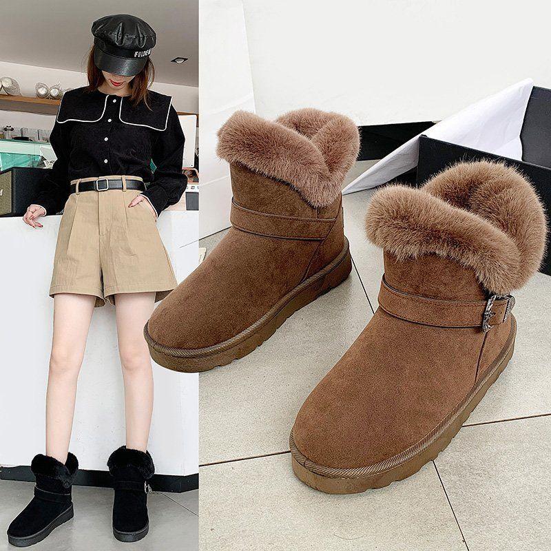棉鞋女冬2020新款潮短靴平底保暖加绒棉鞋学生韩版百搭雪地靴