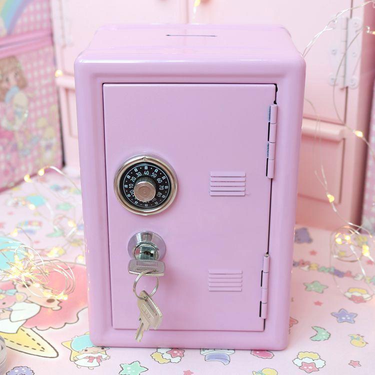 13407新盛保险柜箱粉色装饰储蓄物箱存钱罐金属铁迷你宿舍收纳柜编辑