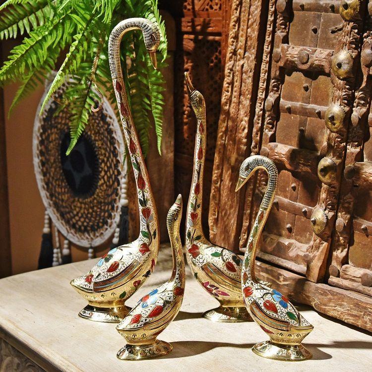 手绘黄铜情侣天鹅摆件家居饰品书房办公室创意工艺品摆设 大号
