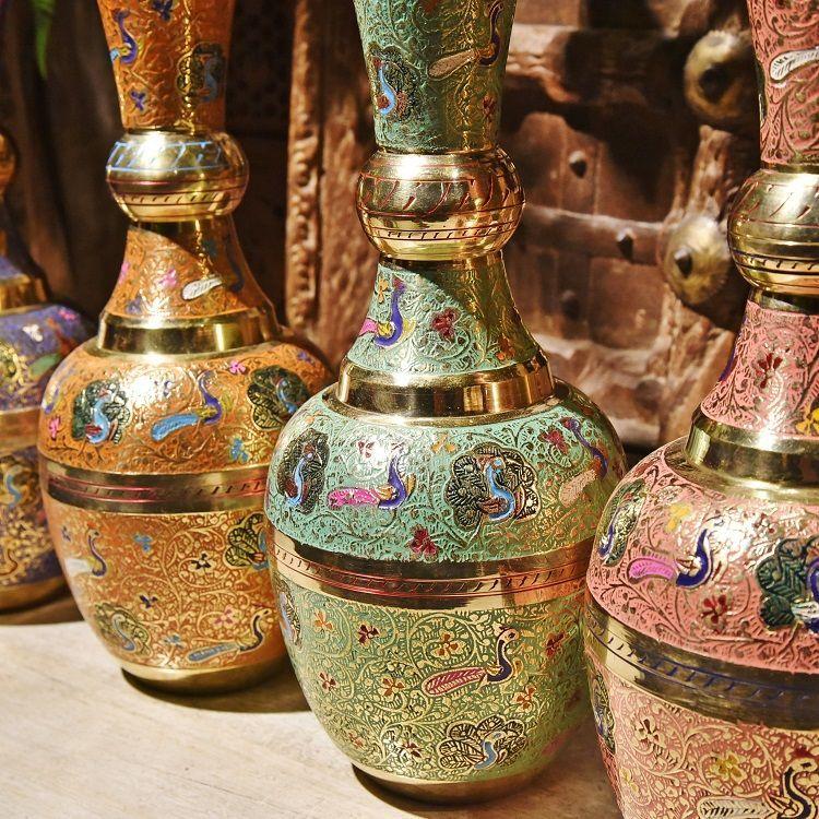 手工彩绘大号铜花瓶Q款装饰器皿金属花瓶摆件插花
