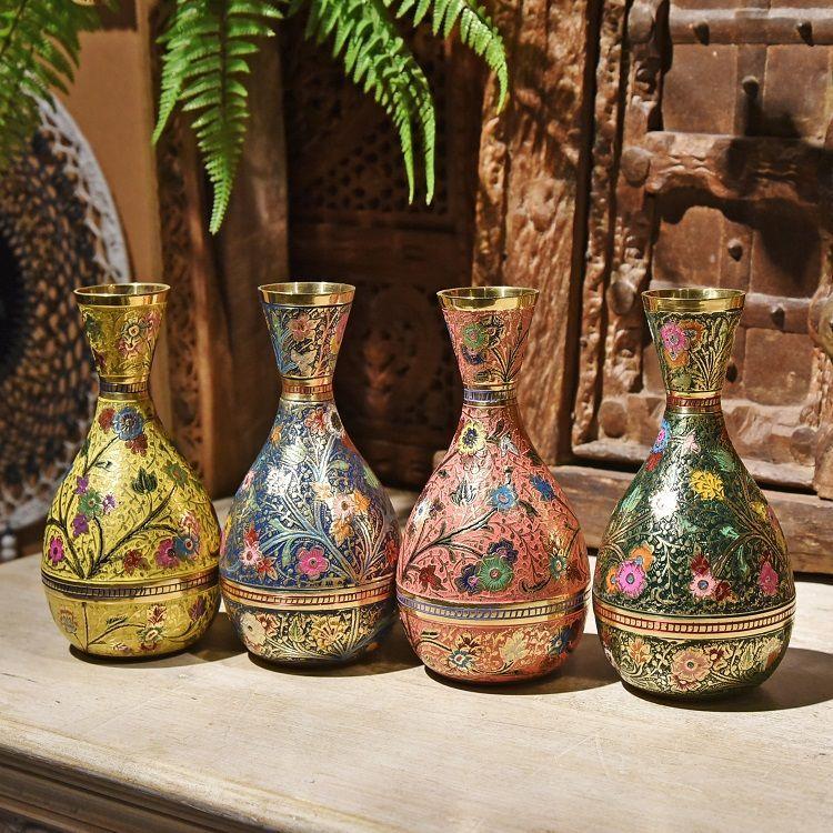 手工彩绘铜花瓶H款装饰器皿金属花瓶摆件插花