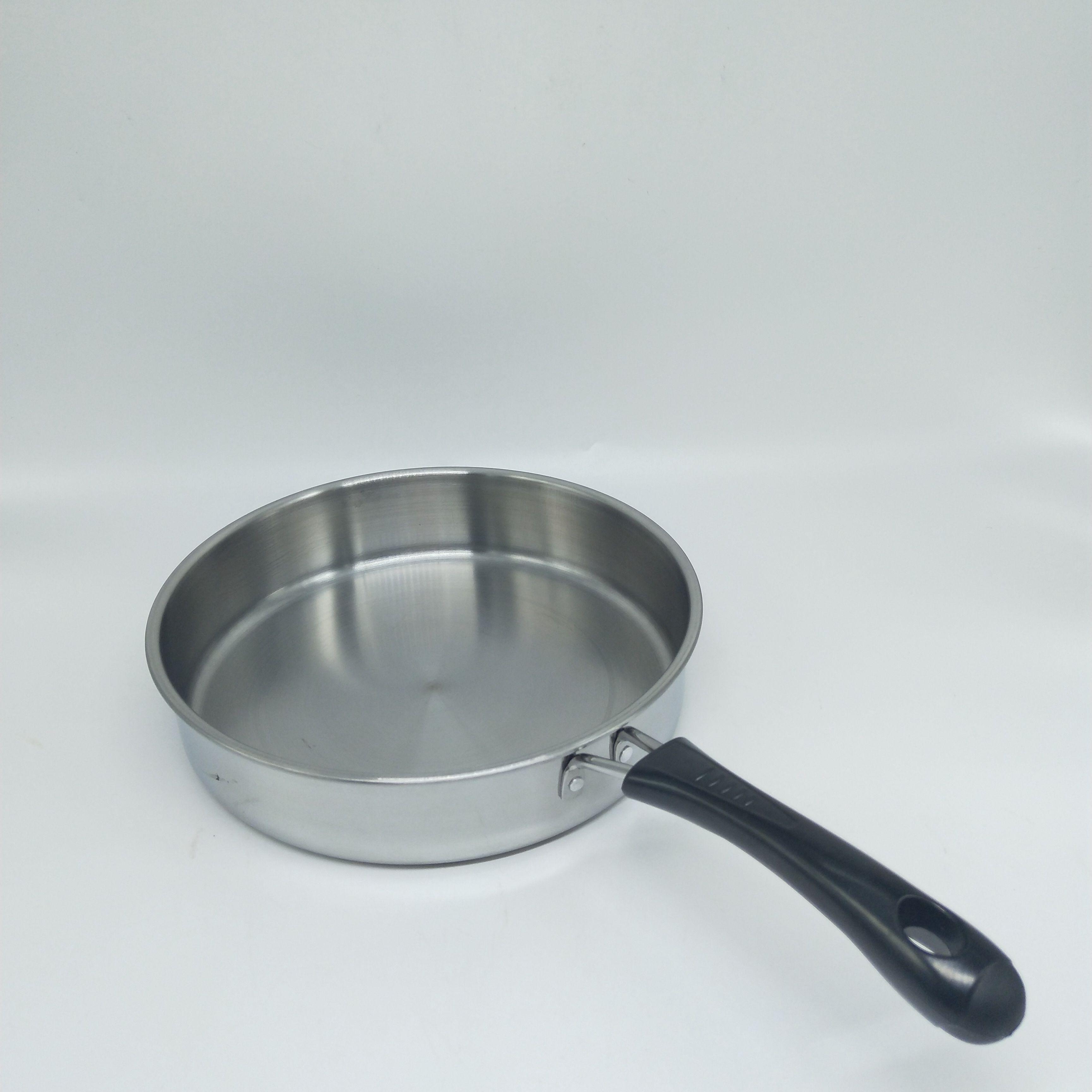 厂家直销家用厨房22不锈钢耐磨平底煎锅韩式单柄平盖煎锅