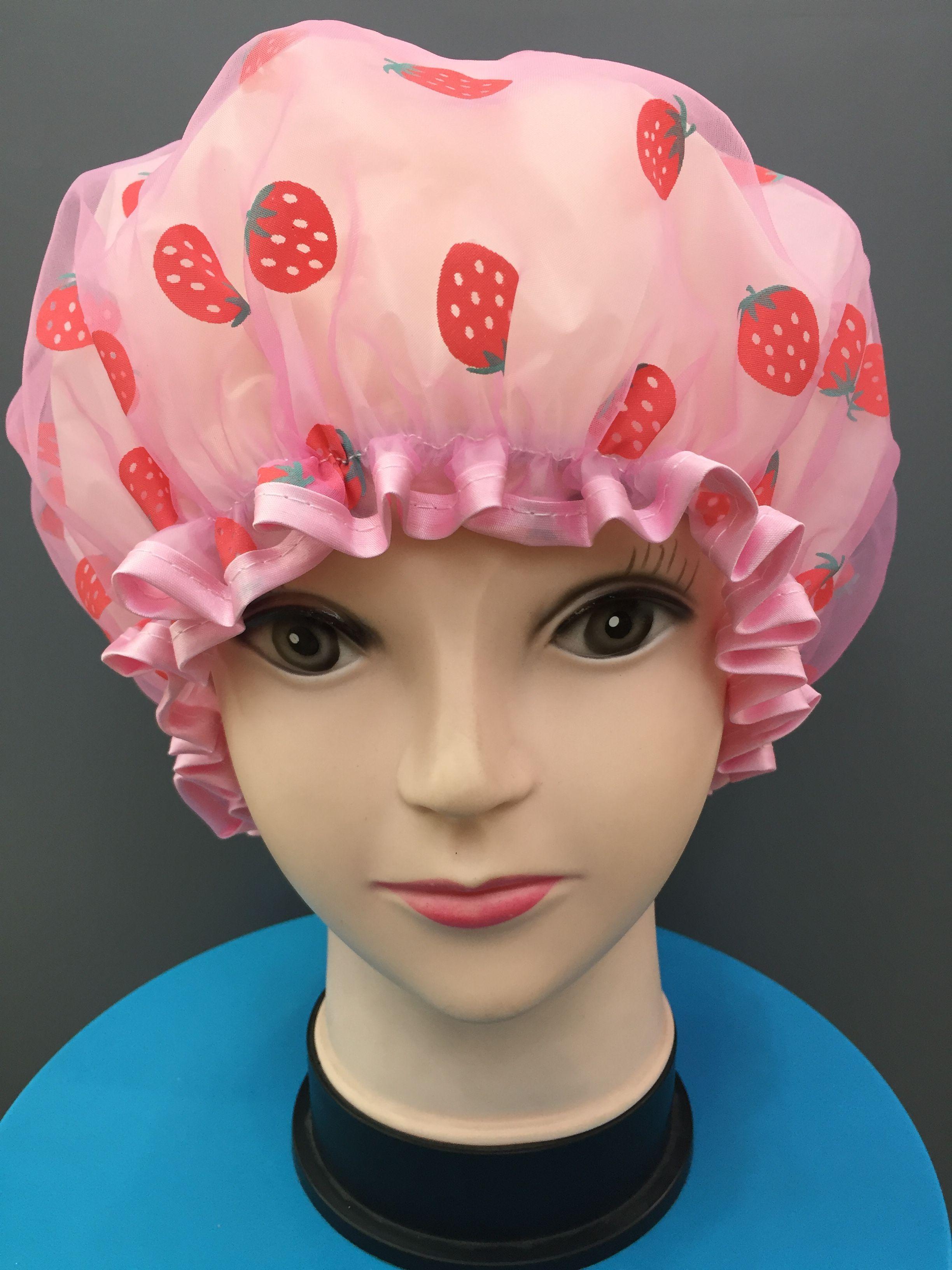 厂家直销 草莓双层包边浴帽 双层环保防水浴帽 旅行便捷浴帽