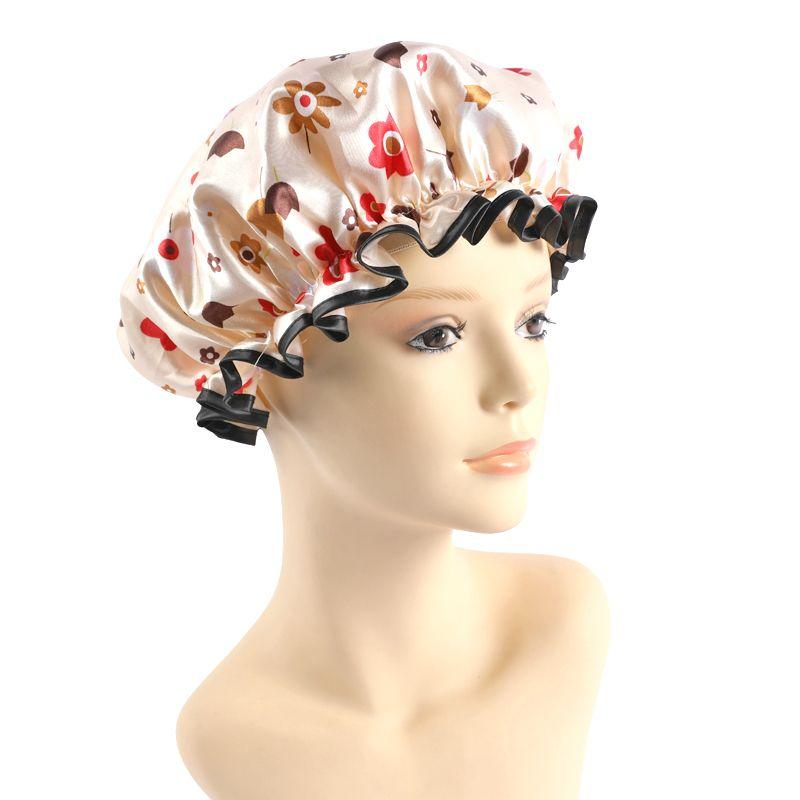 厂家批发 太阳花双层浴帽 洗漱化妆帽 防油防油烟沐浴帽子