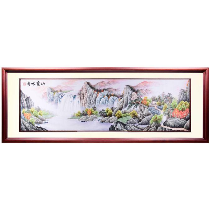 客厅沙发背后办公室酒店大堂 山灵水秀 纯手工刺绣 73.5*216.5cm