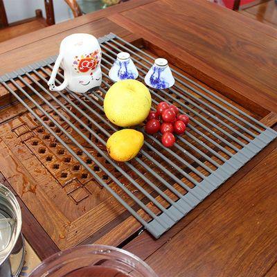 厂家直销可折叠厨房置物架控水架蔬菜水果圆形硅胶沥水架可定制