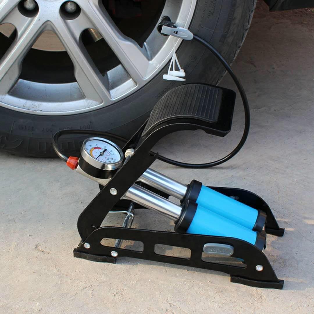 厂家直销便携汽车电动自行车脚踏高压充气筒脚踩打气筒新款