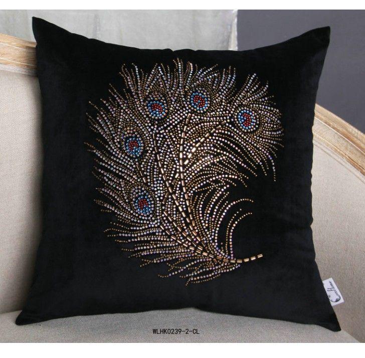 孔雀尾烫图 黑彩色烫钻  服装围巾抱枕窗帘烫钻