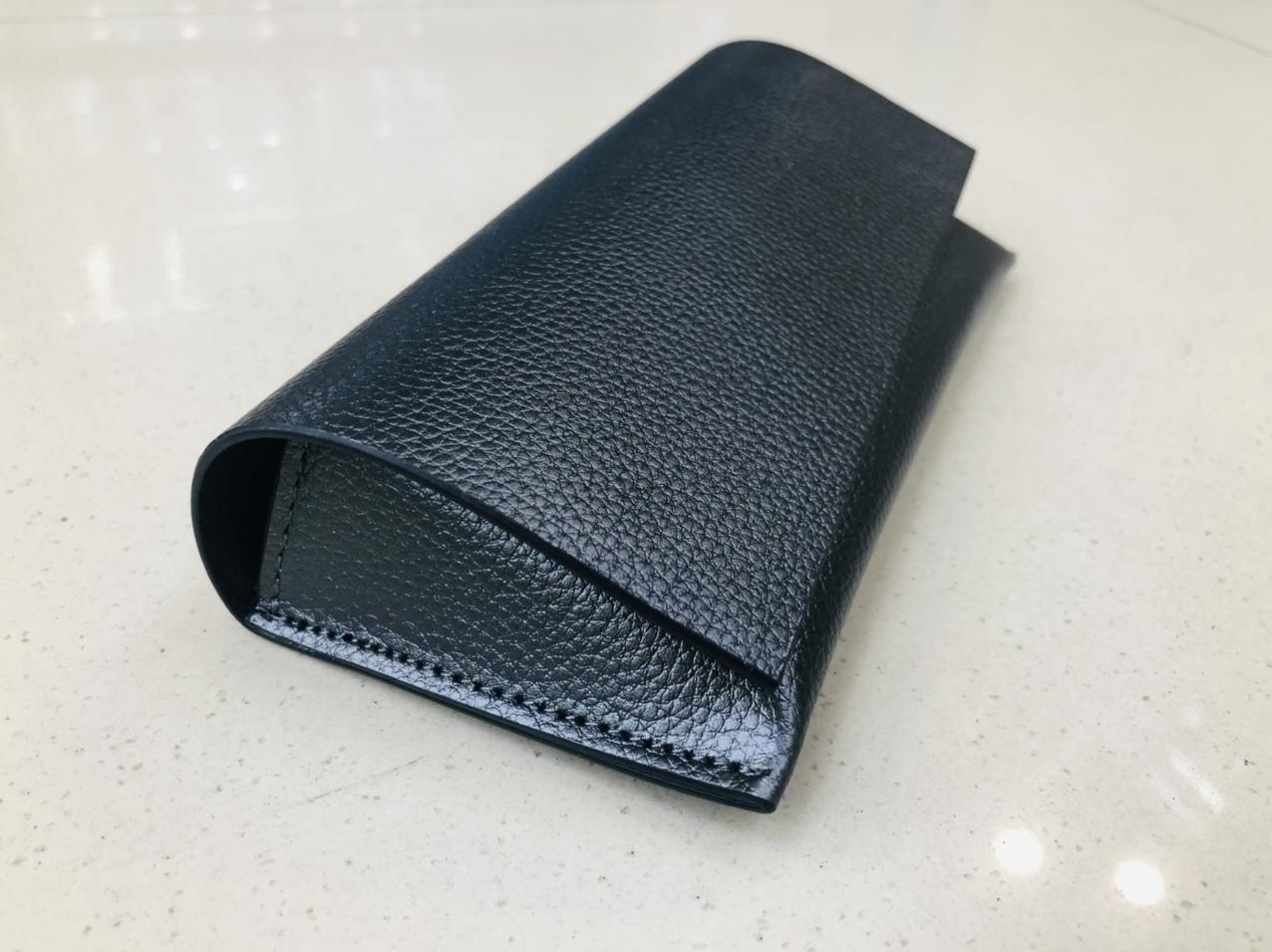黑色荔枝纹翻盖磁吸软包眼镜盒14