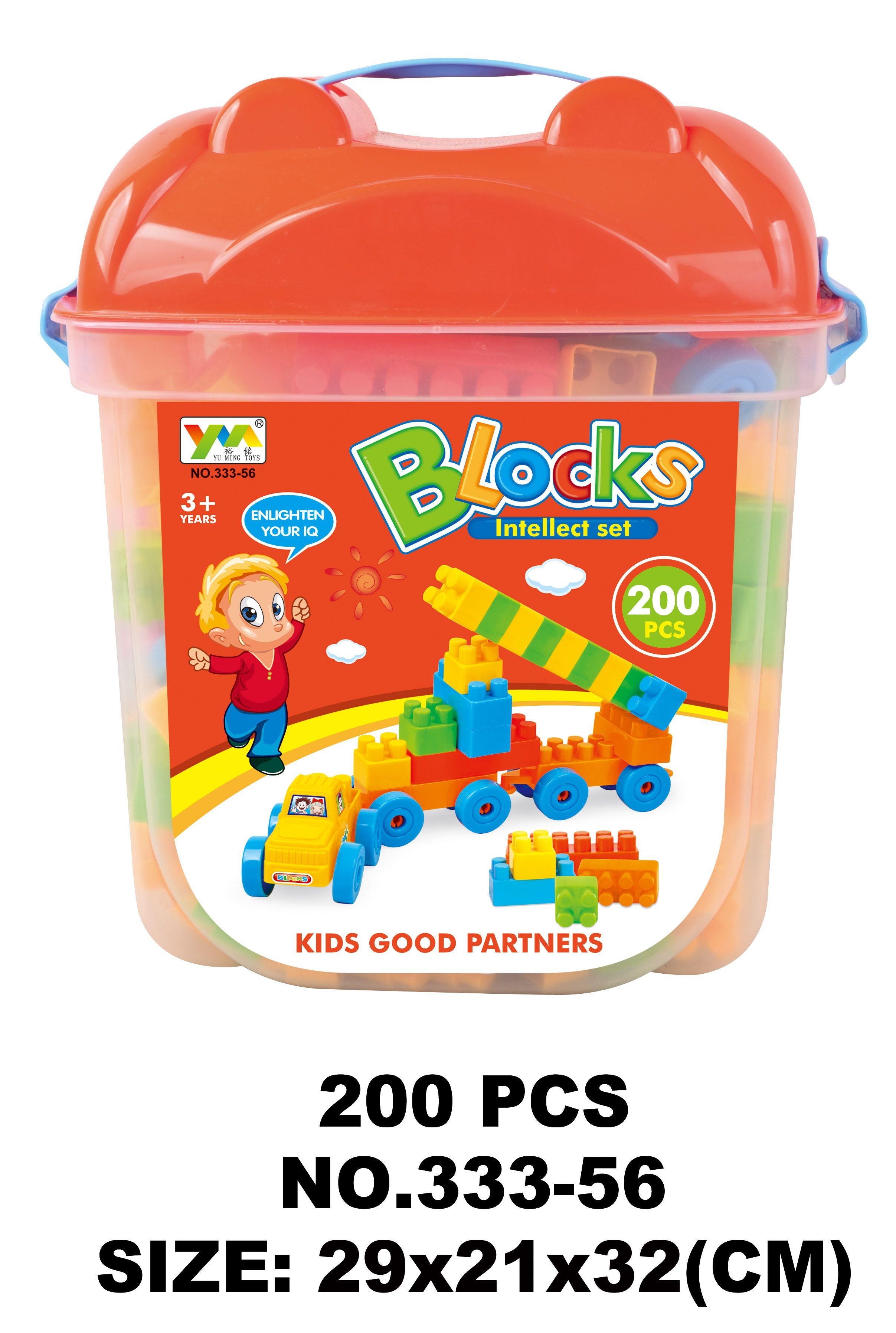 儿童体育塑料积木、积木大四方桶装333-56
