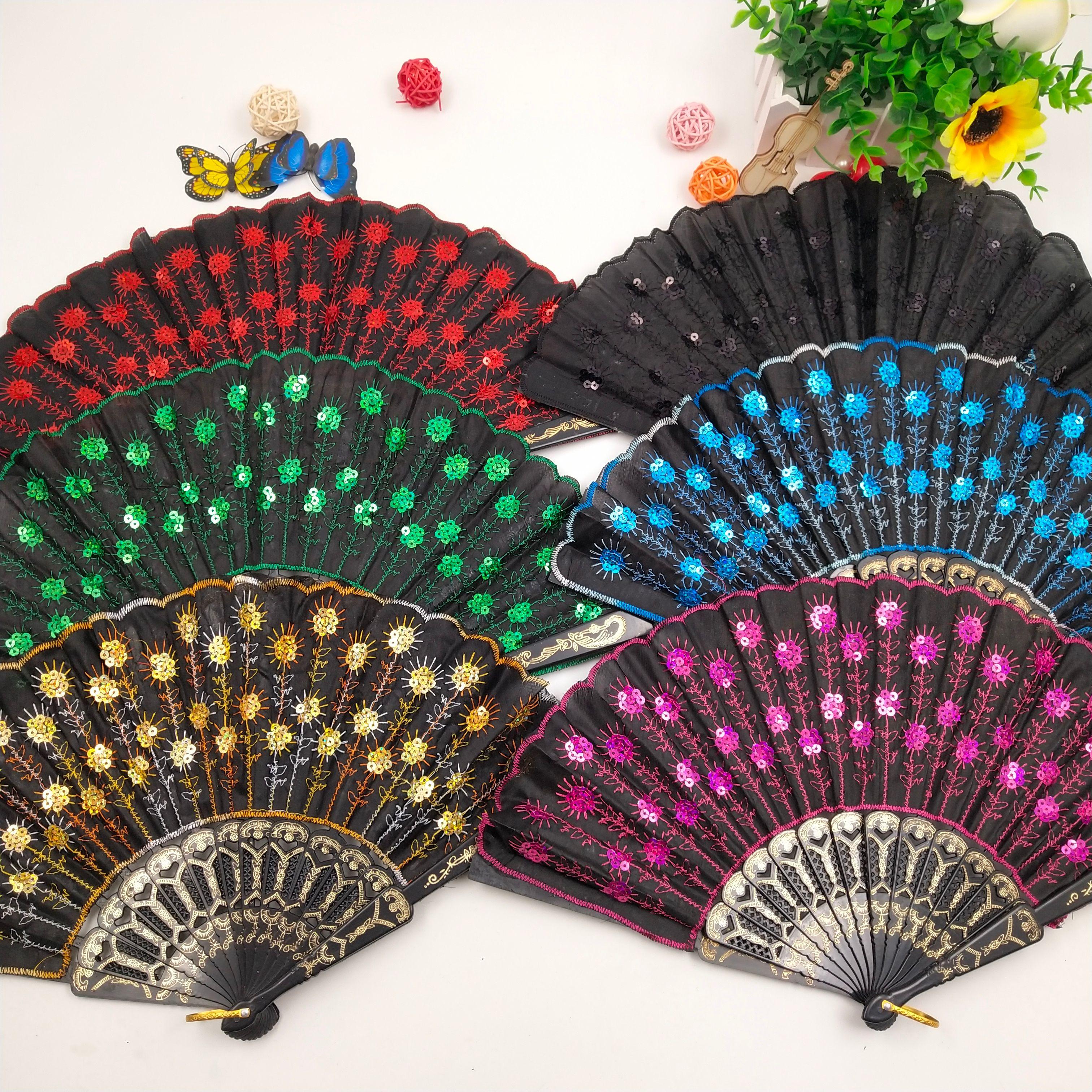 塑料亮片绣花扇厂家直销定制广告扇子西班牙跳舞扇布扇工艺扇批发
