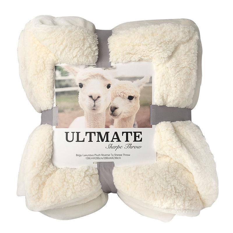 出口欧美双层法兰绒羊羔绒秋冬季毛毯加厚单双人盖毯珊瑚绒毯子款10