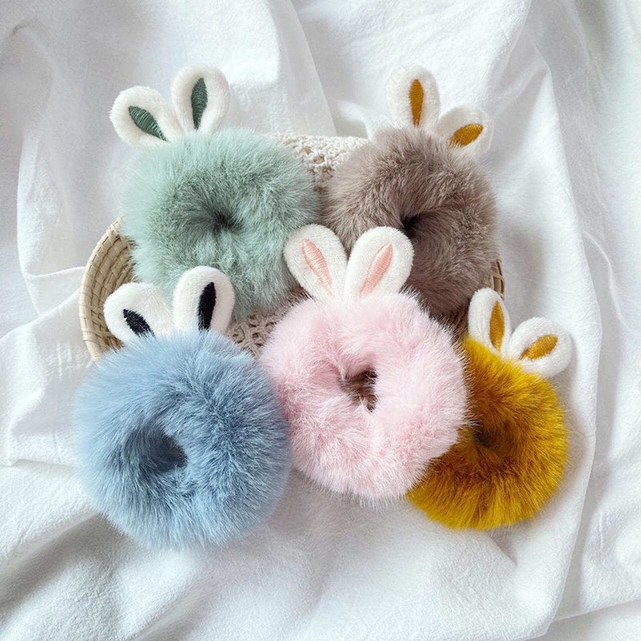 可爱超萌兔耳朵毛绒发圈毛毛皮筋发绳儿童扎头发头绳秋冬发饰头饰