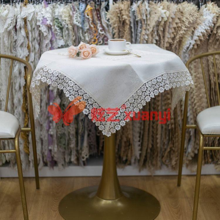 炫艺绣品 现货004彩色水溶树皮纹提花台布 机绣台布 花稿众多 现货桌布台布
