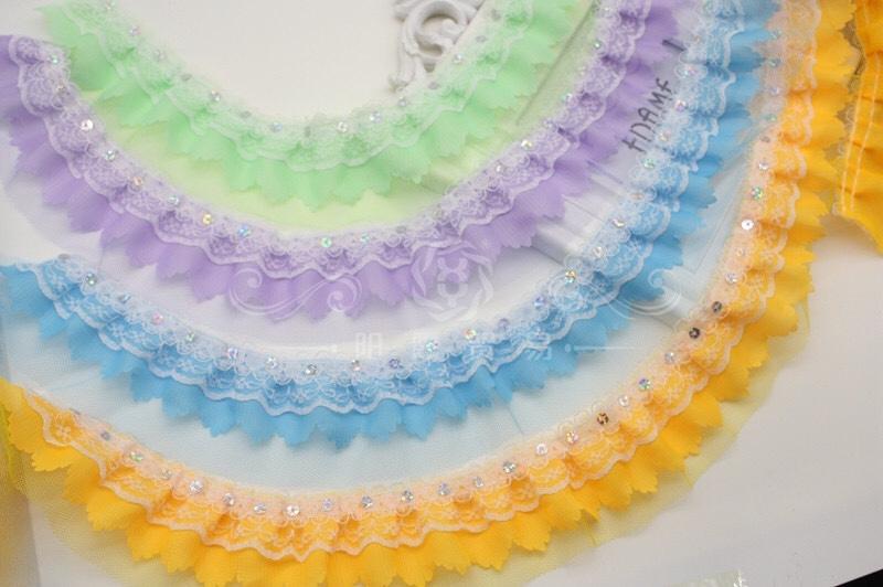 现货5cm雪纺五指花压花五弹蕾丝网纱服装辅料玩具打折花边