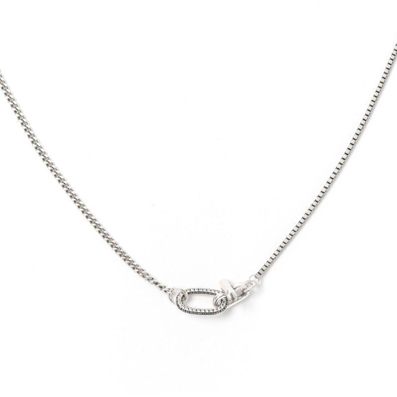 韩版热销S925纯银T字满钻白锆石圆圈项链 银饰颈链