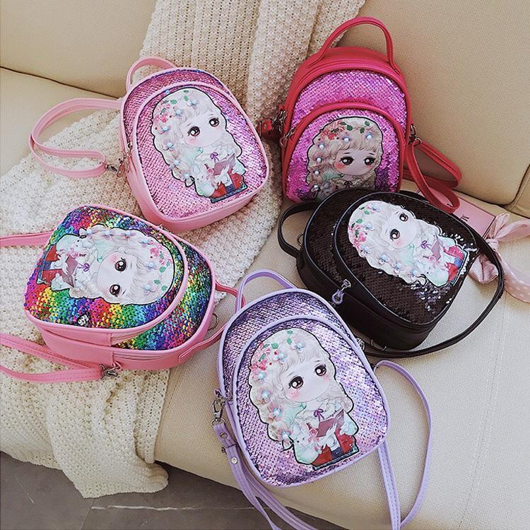 3-6岁儿童包包女童斜挎包时尚公主女孩包包可爱小背包亮片双肩包