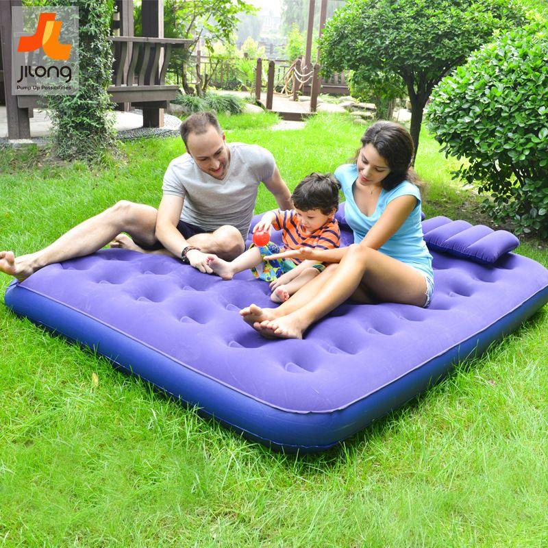 jilong PVC植绒充气床蜂窝式透气充气双人床套装充气床垫