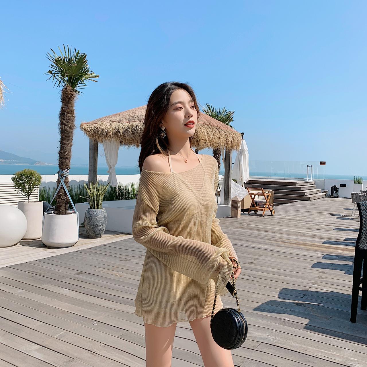 9961杏色韩版小清新温泉时尚女士泳衣