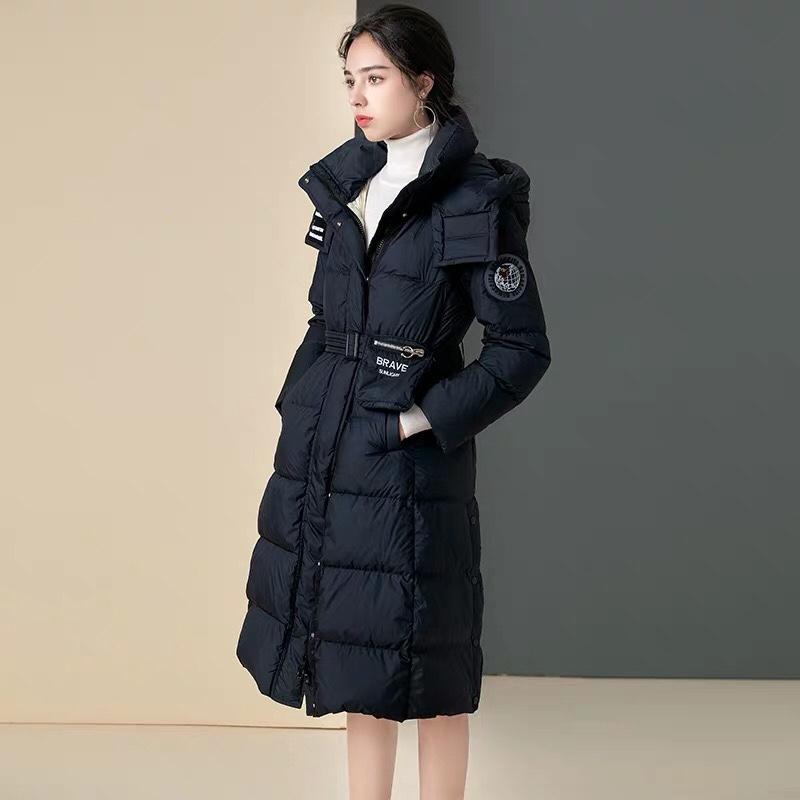 2020冬季新款时尚保暖白鸭绒过膝外套气质连帽羽绒服女中长款