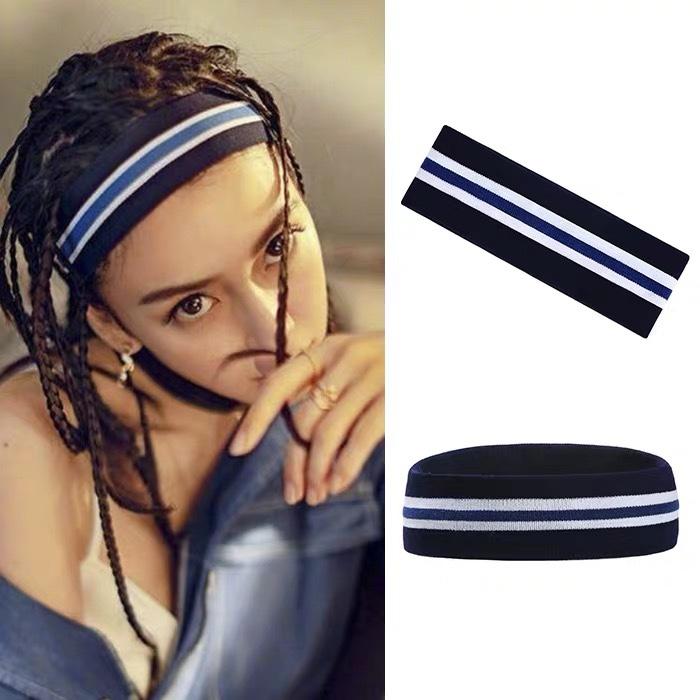 杨颖同款嘻哈发带时尚蓝色条纹男女街舞头巾运动弹力头带ins发箍