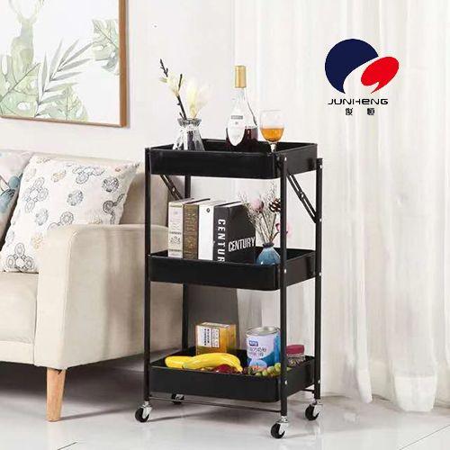 免安装可移动小推车厨房置物架落地式浴室折叠家用婴儿房收纳架      A886