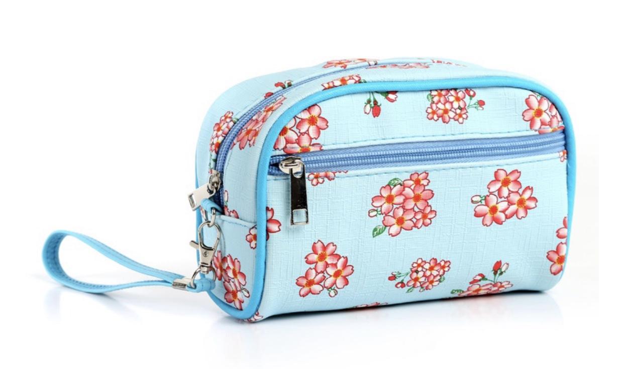 小花双拉手包,韩版化妆包
