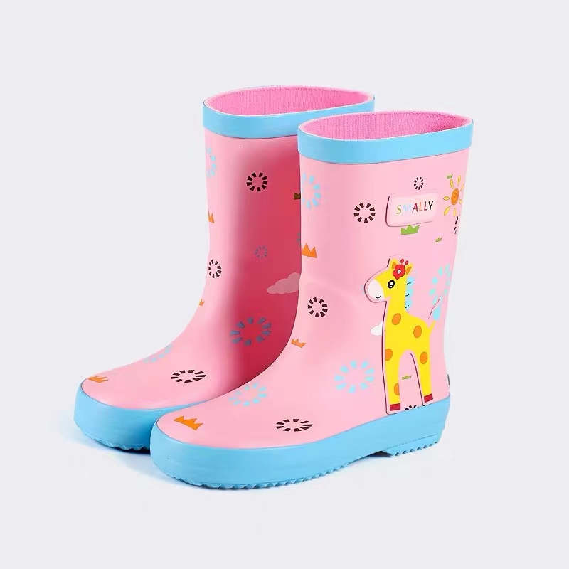 长颈鹿粉色女童雨鞋