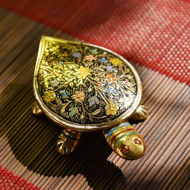 彩绘黄铜乌龟小盒子缸创意全铜家居烟灰缸