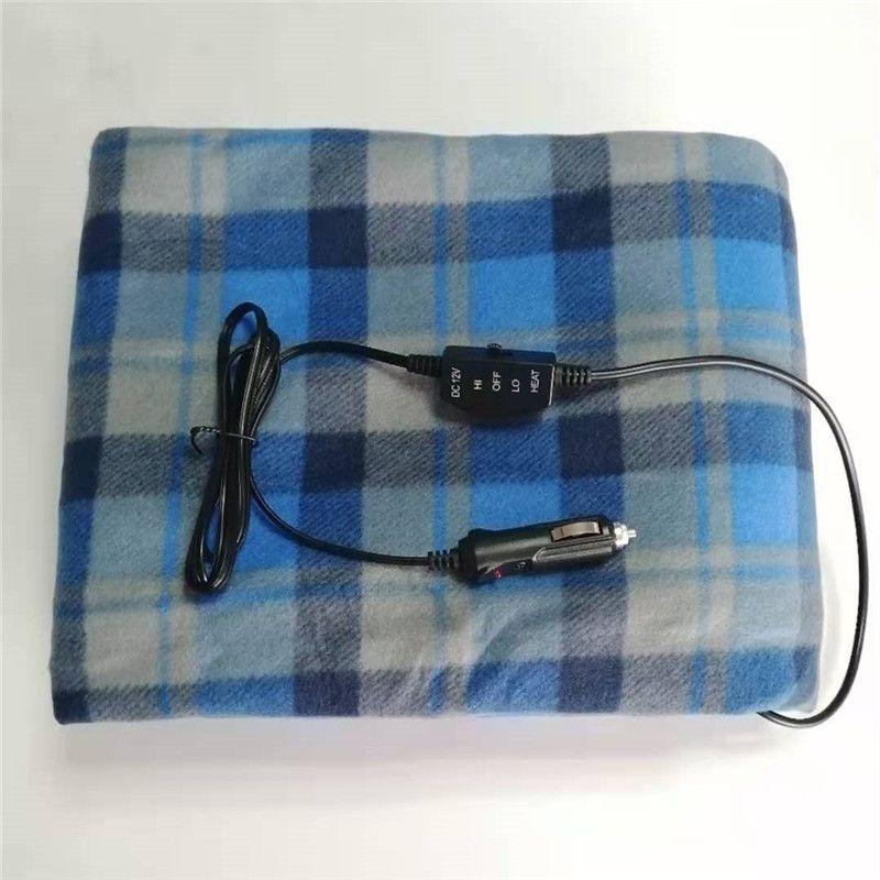 145X100车载加热毯格子剪毛绒冬季保暖电热毯现货加热垫发热谈