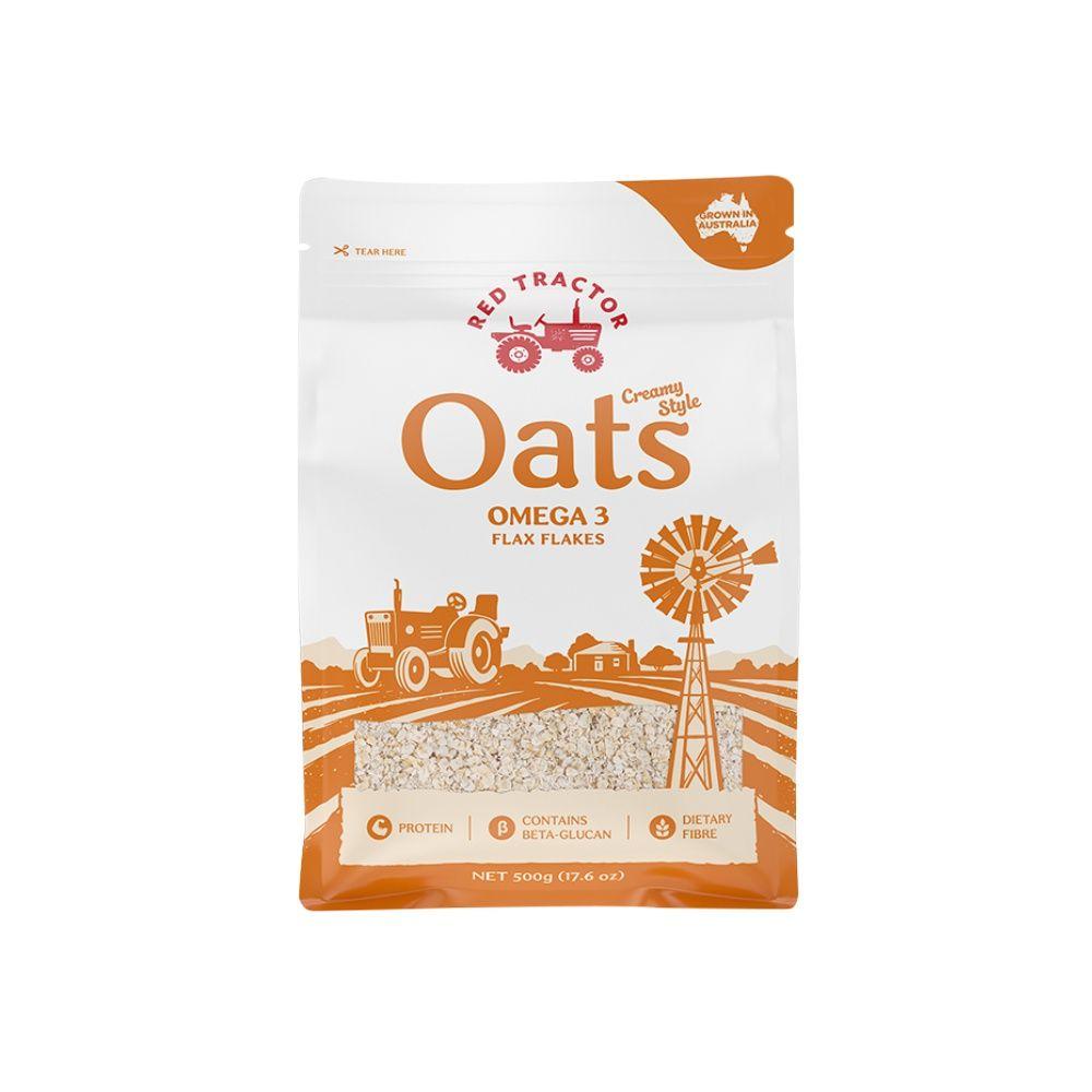 澳洲红色拖拉机燕麦片亚麻籽500g免煮即食早餐代餐食品