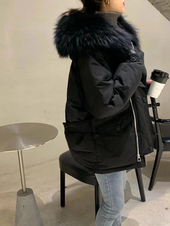 韩屋里韩国进口服装冬季外套加厚羽绒服短款带毛领黑色均码