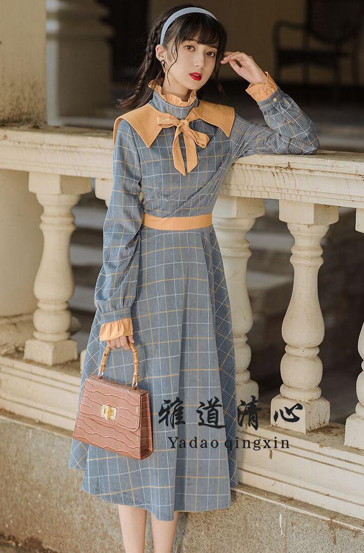 8019款复古文艺风连衣裙温柔风法式连衣裙设计感气质高端