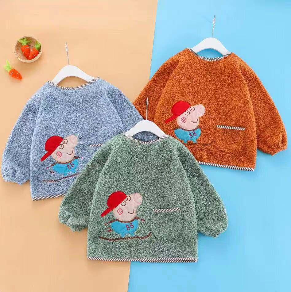 儿童纯棉可水洗反复使用吃饭罩衣秋冬季多色可选1