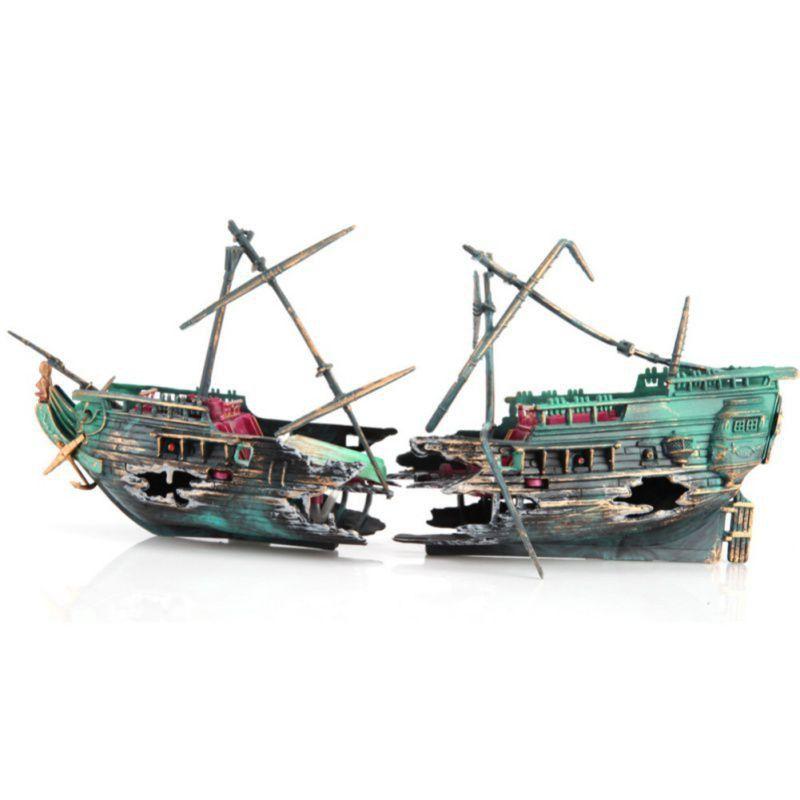 海马气动鱼缸装饰品水族箱造景套餐增氧玩具深海烂船沉船