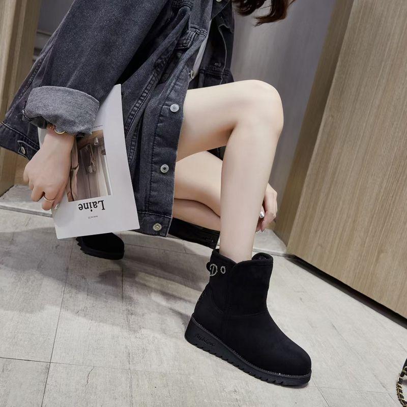 网红休闲时尚冬女棉鞋防水防滑中高筒保暖雪地靴加绒加厚棉鞋外穿